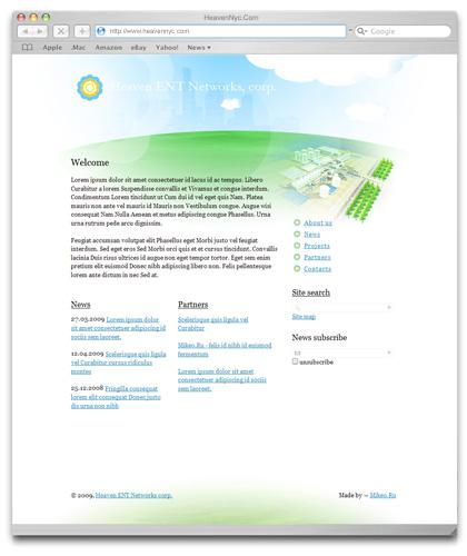 Проект сайта компании «Heaven ENT Networks»